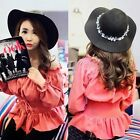 Women Fashion Off Shoulder Pleated Lace Up Waist Shirt Blouse Elegant Top Solid