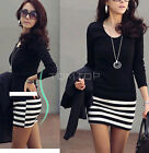 Fashion Korean Womens Large Size Slim Spring Autumn Striped Dress Long Top TTPK