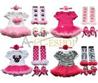 Newborn Infant Baby Girls Headband+Romper Dress+Leg Warmers+Shoes Outfit Clothes
