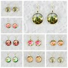 1Pair Tree & Flower Photo glass Cabochon Pattern French leverback Dangle Earring