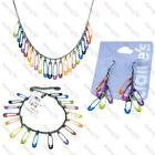 SAFETY PIN black chain NECKLACE/EARRINGS/BRACELET/SET emo NEON,BLUE,GREEN,PINK