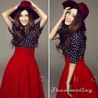 Vintage Women Polka Dot Crop Blouse High Waist Pleated Skater Party Skirt Set M