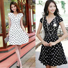 Womens Short Sleeve Sexy OL Polka Dot High Waist Slim Cocktail Party Dress