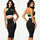 Sexy Women Pencil Skirt Bodycon Halter Neck Crop Top Two-piece Midi Party Dress
