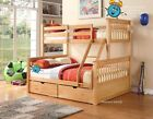 Oak Or White Triple Bunk Bed With Drawers - New 3ft & 4ft6 Double Wooden Beds