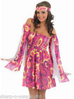 Ladies Pink Hippie Hippy 1960s 60s Fancy Dress Costume Outfit 8-26 Plus Size