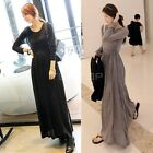 Women's Casual Round Neck Long Sleeve Slim Maxi Long Dress Spring Fall TTPK