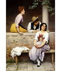 """EUGEN VON BLAAS """"Small Talk"""" coy COURTING laughing woman love trio CANVAS PRINT"""