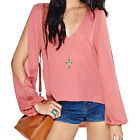Sexy V Neck Split Sleeve Cut Out Lace Patchwork Women Chiffon Dovetail Shirt top