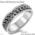 Chain Link Eternity Band Silver Genuine Stainless Steel Ring Size 7 - 13 Unisex