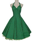Vintage Dress 50s Dancing Party Swing Jive Rockabilly Spot Dot Polka Skirt Green