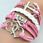 Hot Vintage Multilayer Leather Band Bracelet Infinity Cuff Chain Charm Bangle