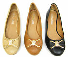 New Ladies Ballerina Ballet Dolly Pumps Womens Gold Side Diamonds Bow Flat Shoes