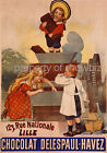 Vintage French Chocolate print poster, large 4 sizes available