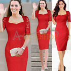 Womens Celeb Lace Crochet Cocktail Prom Bodycon Fitted Shift Party Pencil Dress