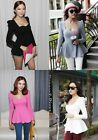 Korean Fashion Sexy Women Peplum Frill Puff Sleeve Fitted Clubwear Blouse Tops