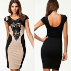 Womens Celeb Style Floral Lace Trim Cocktail Party Bodycon Sheath Sexy Dress SML
