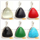 29X38mm triangle Gemstone beads White Tibetan Silver Jewelry Charm Pendant
