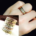 VINTAGE UNISEX LETTERING WISHING FINGER RING 8 CHOICES RETRO DICTIONARY WORDS