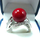 Wonderful red coral bead woman's ring size 7 8 9 10