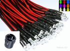 Pre-Wired 5mm LED's 12v All Colours Optional Black Plastic Prominent Holders