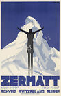 Vintage Zermatt, Switzerland Advertisement print poster, 4 large sizes available