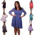 plus size womens clothing - FLORAL LACE SKATER DRESS