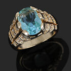 Size 8,9,10,11,12 Jewelry Man's Blue Aquamarine 10KT Y/W Gold Filled Ring Gift