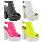 LADIES WOMENS CLEATED SOLE CHUNKY HIGH HEEL PLATFORM BOOTS SHOES SANDALS SIZE