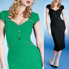 New Womens GK Vintage Rockabilly Pinup Bodycon Fitted Pencil Black Green Dresses