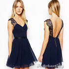 Women Sleeveless Cut Out Deep V Backless Party Cocktail Casual Skater Sexy Dress