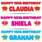 "PERSONALISED BIRTHDAY BANNER 3ft - 36 ""x 11"" 1st 18th 21st 30th 40th  GOLD STAR"