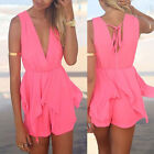 Women Sexy Celeb V neck Backless Playsuit Beach Jumpsuit Short Casual Sleeveless