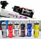 Outdoor Cycling Bike Bicycle Yellow PE 650ml Sports Water Bottle with Dust Cover