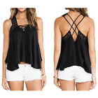 Europe Hollow Out Backless Cross Strap Tops Women Halter Irregular Blouse Shirts
