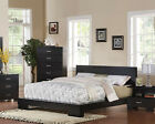 NEW CAMILE MODERN BLACK FINISH WOOD QUEEN or EASTERN KING PLATFORM BED