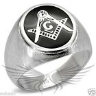 Men's Masonic Freemason Ring Stainless Steel Top Grade Crystal Accented TK02222