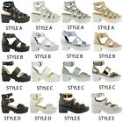LADIES WOMENS CHUNKY CLEATED SOLE GLADIATOR SANDALS HIGH PLATFORM BOOTS SHOES