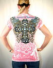Angels & Diamonds Glory Winged Cross  Women's T Shirt Tops Rhinestones Accents