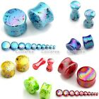 "2x Punk 6g-3/4"" Colorful Dots Acrylic Bar Ear Plug Flesh Tunnel Expander Gauges"