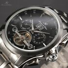 KS Men Stainless Steel Band Tourbillon Automatic Mechanical Day Date Month Watch
