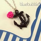 FUNKY ANCHOR ROSE NECKLACE VINTAGE NAUTICAL SAILOR JERRY TATTOO PIRATE FESTIVAL