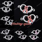 5x Crystal Heart Hollow Ribbon Metal Connectors Charm Bead Findings For Bracelet