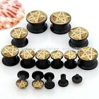 Pair 4MM-14MM Punk Yellow Pentacle Acrylic Screw Ear Stud Tunnel Plugs Stretcher