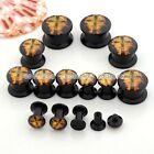 Pair 4MM-14MM Punk Flame Cross Acrylic Screw Ear Tunnel Plugs Stretcher Earlets