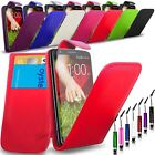 LG G2-  New PU Leather Flip Case Cover Pouch + Mini Stylus & Screen Protector