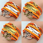 Fashion Woman Girl Vintage Love One Direction Bead Bracelet Bangle Weave Jewelry