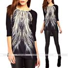 Womens Round Neck Middle Sleeve Peacock Tail Pattern Top Blouse T-shirt