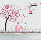 Owl plum tree elephant Wall Art Stickers Kids Nursery Vinyl Decal removable