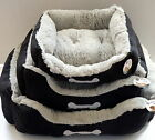 World of Pets Luxury Black Small Medium Large Dog Pet Bed Basket faux Suede